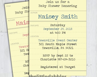 Printable Library Card Book Theme Baby Shower Invitation -- Return Book Due Date Checkout Slip Invitation -- PNG & JPG