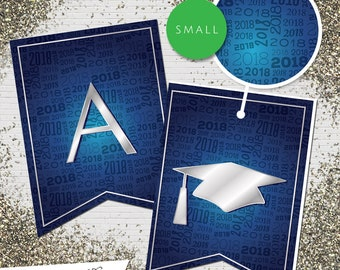 Small Blue & Silver 2018 Printable Banner  |  All Letters 0-9 numbers  |  Graduation, Birthday, Congratulations, Anniversary