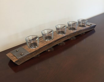 Shot Glass Flight Tray Made From Reclaimed Whiskey Bourbon Barrel Staves