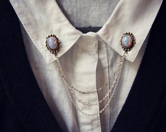 pink opal collar pins in silver, collar chain, collar brooch, lapel pin, pink opal pin, pink opal brooch