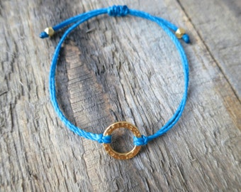 Hammered Gold Circle Bracelet with Blue-Turquoise Cord
