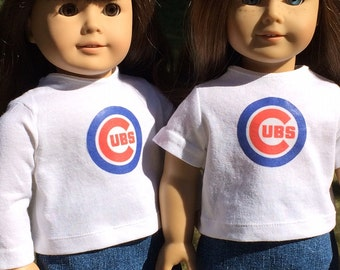 "Chicago Cubs short or long sleeved T Shirts for 18"" dolls"