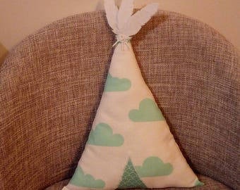 Mint and cloud patterns green teepee pillow