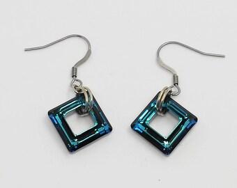 Diamond Swarovski blue earrings