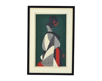Mid-Century Modern Kiyoshi Saito Geometric Japanese Woodblock Print Bunraku