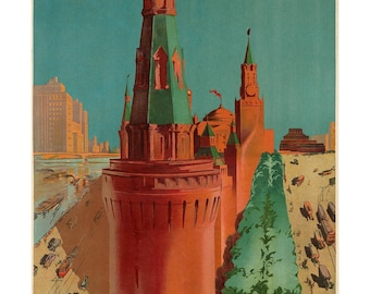 Poster - Moscow - 1930 tourism - fine art gallery