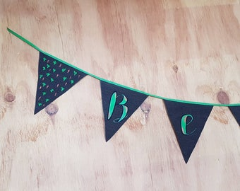 Customised Bunting Baby Boy's room / recycled denim bunting / Personalised bunting / hand made kids room decor / Baby Nursery wall hanging