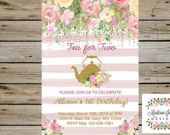 TEA PARTY Birthday Invitation, TEA for Two Birthday Invitation, Digital Printable, Tea Party Birthday, Watercolor Flowers, Gold Glitter
