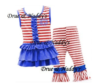 Patriotic Stripes Red White Blue Ruffle 4th of July Girl Toddler Outfit