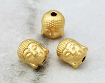 5 pcs Gold Buddha Beads, (10mm x 9mm) Gold Buddha Head Charms, 24k Matte Gold Plated Buddha, Metal Gold Buddha Beads, Buddha Charm / GPY-144
