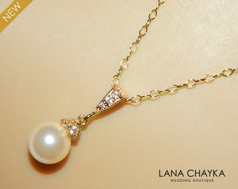Ivory Pearl Gold Bridal Necklace Single Pearl Gold Necklace Swarovski 8mm Small Pearl Gold Necklace Wedding Pearl Drop Necklace Bridal Pearl