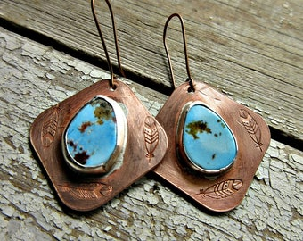 Love triangle earrings by Weathered Soul, feathers embossed with turquoise set in sterling on copper, artisan, USA crafted,southwest,cowgirl