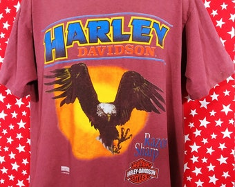 Vintage 90s Harley Davidson Fun Wear Burgundy striped t shirt Eagle razor sharp Large rare