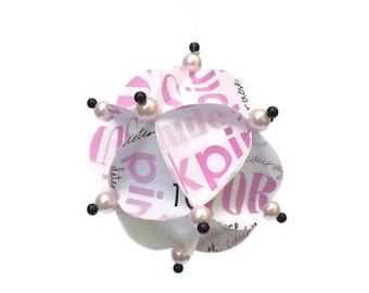 Christmas Ornament, Geometric Ornament, Paper Ornament, Christmas Ball, Handmade Ornament, Pink Ornament, Gift Ornament, Survivor Ornament