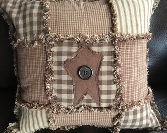 14 inch brown ragged pillow