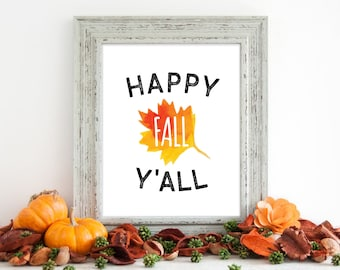fall wall art, autumn wall art, happy fall y'all, fall print, fall download, autumn decor, gobble wobble,thanksgiving art,thanksgiving decor
