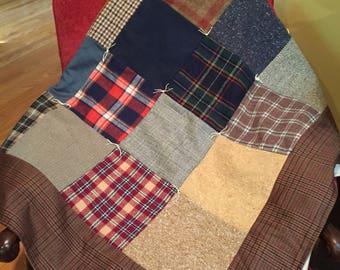 Menswear Wool Lap Quilt Handmade