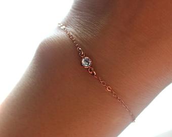 Dainty Rose Gold Bracelet, Rose Gold Charm Bracelet, Rose Gold Solitaire Bracelet, Delicate Rose Gold Jewelry, Rose Gold Crystal Bracelet
