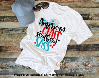 American Class Southern Sass T-shirt or Racerback Tank Top, America, Southern, Merica, Patriotic Tee, Summer Tees, Graphic Tee