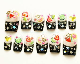 Black french, Japanese nail art, Kira, stars on black french with fimo nails