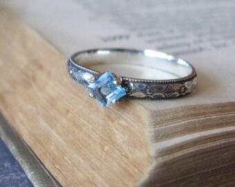Princess Cut Gemstone Engagement Ring Square Blue Topaz Gemstone Promise Ring or Stacking Ring