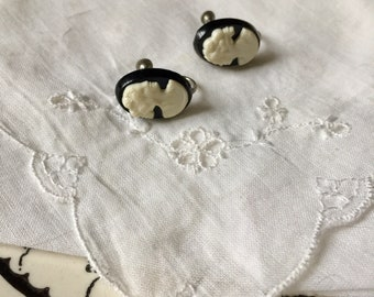 Vintage Black Cameo Earrings