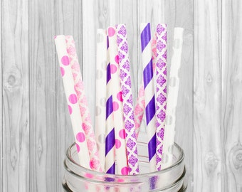 Pink, violet & Silver Paper straws - Birthday Party decorations - Wedding - Baby Shower - Mason Jar Straws - Baptism, Party Supplies, 25 pcs