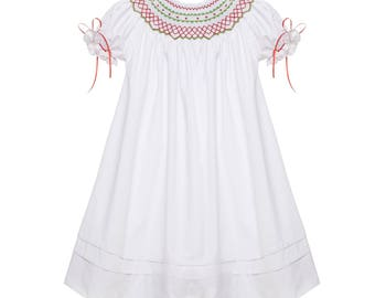 Red and Green Classic Smocked Christmas Bishop Dress with Ribbons