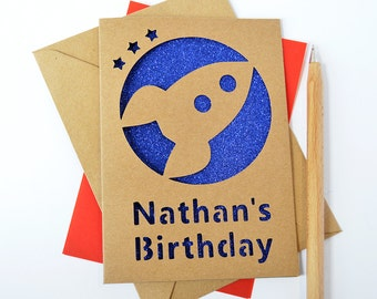 Personalised Rocket Glitter Cut Out Card - Child's Birthday Card - Card for Child - Card for Kids - Rocket Card