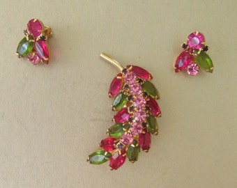 Juliana D&E Brooch Pin and Earrings Set Gold Plated