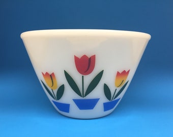 Fire King Tulip Bowl, 7 1/2 Inches, Fire King Ivory, Fire King Splash Proof Bowl