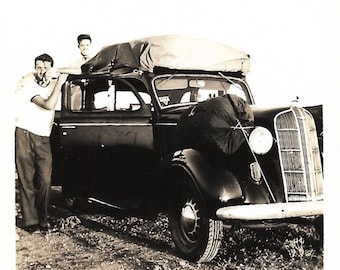 """Vintage Snapshot """"Going Home"""" All Packed Up & Ready To Go Vintage Car Canvas Tent Camping Supplies Found Vernacular Photo"""