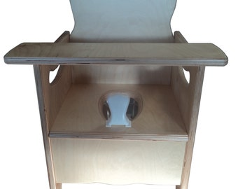 A New Wooden Potty Chair w/ latching tray, pot, and pee deflector  - nursery chair