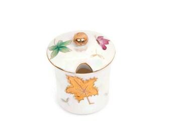 Vintage Jam Jar with Lid Lipper Mann Lusterware Jelly Pot Butterflies Leaves Jelly Holder Kitchen Decor