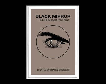 Black Mirror by Charlie Brooker eye poster print in various sizes