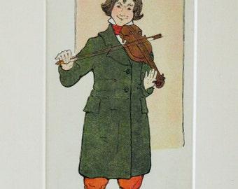 Vintage Violin Man, Children's Illustration Art Print, Vintage Book Print, Children's Book Illustration, Nursery Decor, Nursery Art