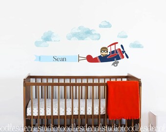 Airplane Wall Decal for boys, Navy Red Plane Fabric Decal, Reusable Decals, Aeroplane Decals, Kids Name Art Decal, Kids Pilot Wall Art Decal
