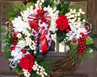 Etsy Front Door Wreath   Christmas Wreath   Grapevine Wreath   Red and White Wreath   Wreaths on Etsy   Etsy Wreaths