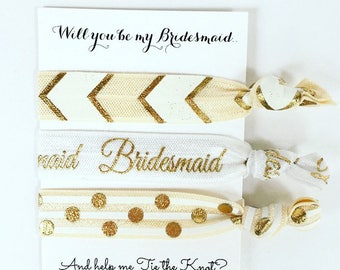 Will you be my Bridesmaid Elastic Hair Ties / Set of 3