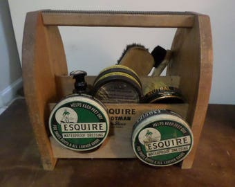 Vintage Wooden Esquire Footman Deluxe Shoe Shine Kit with All Original Accessories Excellent Condition TC