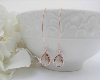 Rose Gold Earrings - Champagne Earrings - Rose Gold Bridesmaid Earrings -  Wedding  Earrings - Bridesmaid Gift - Dangle Earrings - Gift Idea