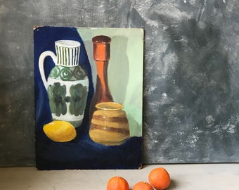 Still Life Vintage Oil Painting | Still Life Painting | Original Oil Painting On Board | Tablescape Scene | Hand Painted Fine Art