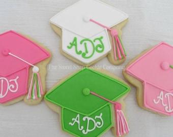 grad cap cookies 2 dozen