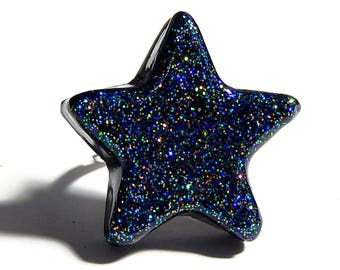 Black Star Ring, Glitter Resin Jewelry, Adjustable