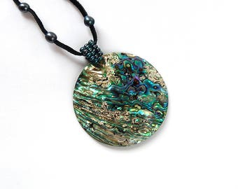 Blue Abalone Pendant, Large Abalone Shell, Abalone Shell, Beach Theme Gift, Real Shell Necklace, Beach Jewelry Gift, Green Abalone Shell