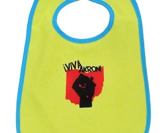 TerryCloth Bib with Viva Akron Design (Yellow with Blue Trim)