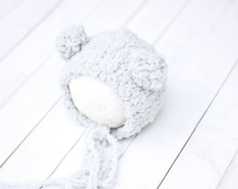 knitted teddy bear bonnet with pom pom ears, gray little bear bonnet, new born light gray hat