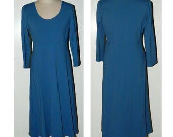 Blue Knit Dress - Vintage Casual Wear Dress