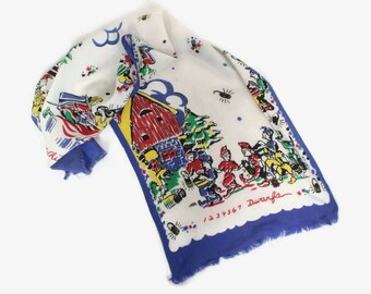 Vintage 30s NOVELTY SCARF / Late 1930s - 40s Snow White & The Seven Dwarfs Rayon Scarf