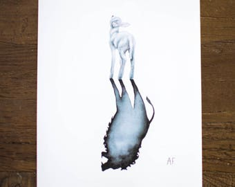 Lion // Lamb Watercolor Print